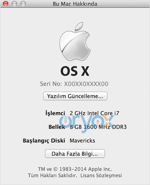 OS X Mavericks veya önceki sürümleri Bu Mac Hakkında