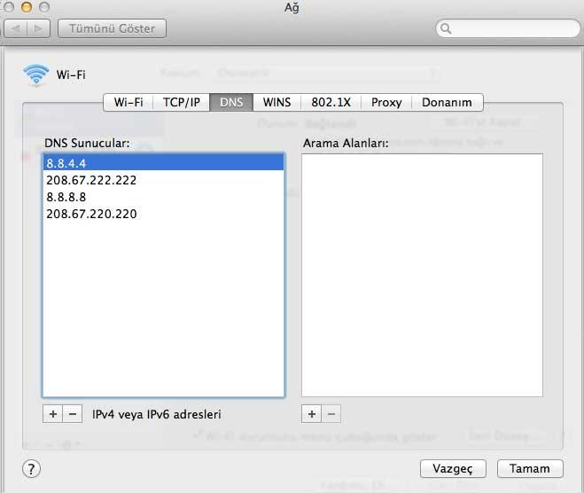 Mac OS X: Domain Name Service (DNS) Ayarları Nasıl Yapılır?