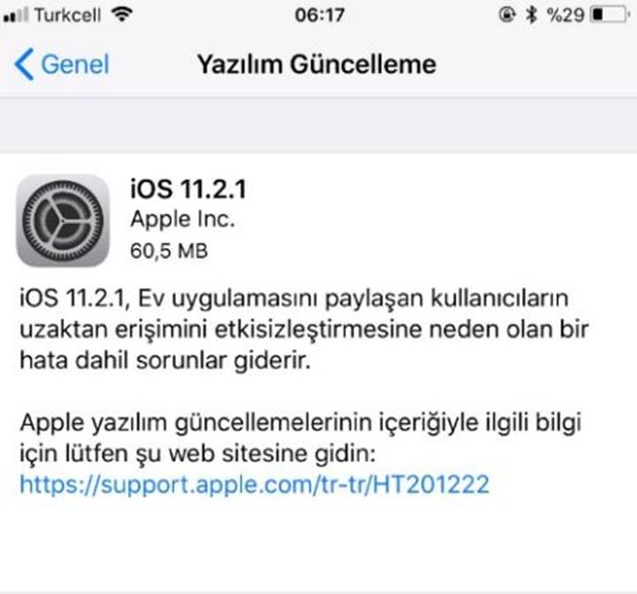 iOS 11.2.1 yayınlandı (indir veya güncelle)