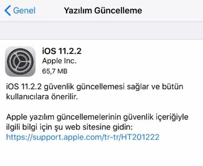 iOS 11.2.2 güncellemesi yayınlandı!