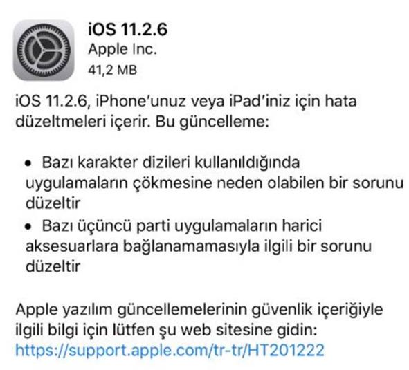 iOS 11.2.6 güncellemesi yayınlandı!